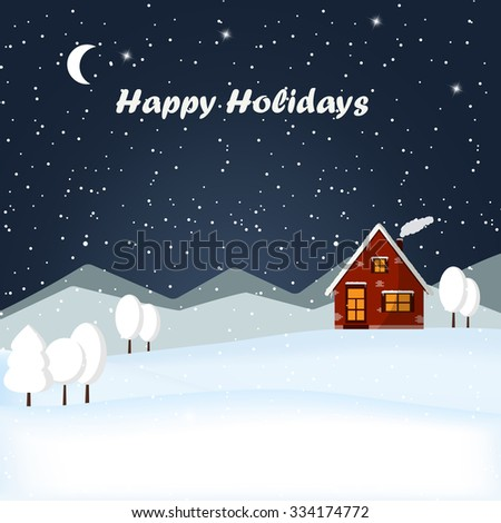 Vector illustration winter landscape with cartoon house covered with snow. Red brick Christmas house and snowy mountain. Winter time. Christmas night in the village. - stock vector