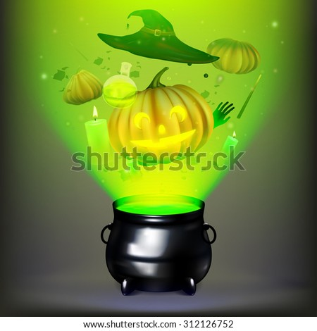 Vector illustration witches cauldron. Potion and magic. Pumpkin, witch hat, cauldron,  Jack-o'-lantern. EPS 10 - stock vector