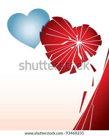 Vector illustration with a broken heart. Can be easily colored and used in your design. - stock vector