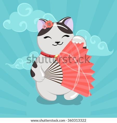 vector illustration with a cat Maneki Neko - stock vector