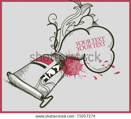vector illustration with a  hand drawn tube of red paint and bright drops - stock vector