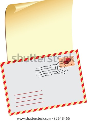 Vector illustration with a message on Valentine's Day and a festive envelope.