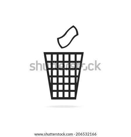 vector illustration with a paper bin - stock vector