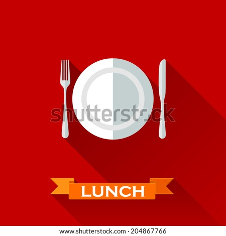 vector illustration with a plate and cutlery in flat design style with long shadows. Lunch time concept - stock vector