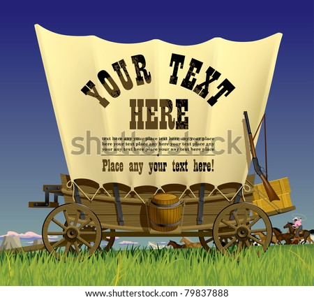 Vector illustration with a Wild West covered wagon in prairie against the background of a flock of horses - stock vector
