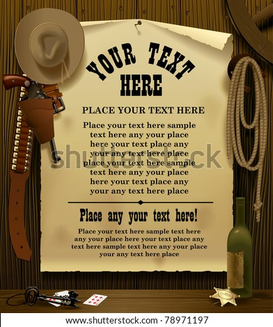 Vector illustration with a Wild West Relay Poster in the environment of cowboy accessories on the wood wall background - stock vector