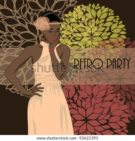 vector illustration with african american woman in retro style - stock vector