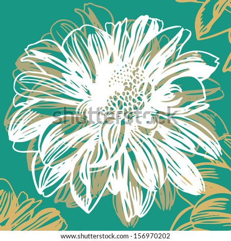 Vector illustration with beauty flowers - stock vector
