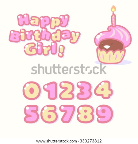 Vector illustration with birthday cake. Cute cartoon style. Happy Birthday, Girl!