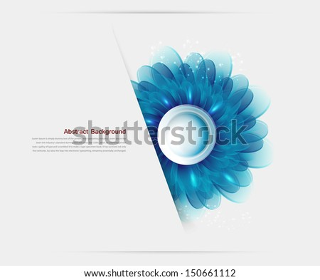 Vector Illustration With blue flowers and banners - stock vector