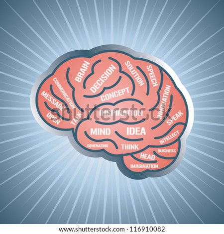 vector illustration with brain and think - stock vector
