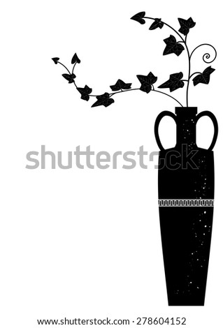 vector illustration with branches of ivy in black and white colors - stock vector