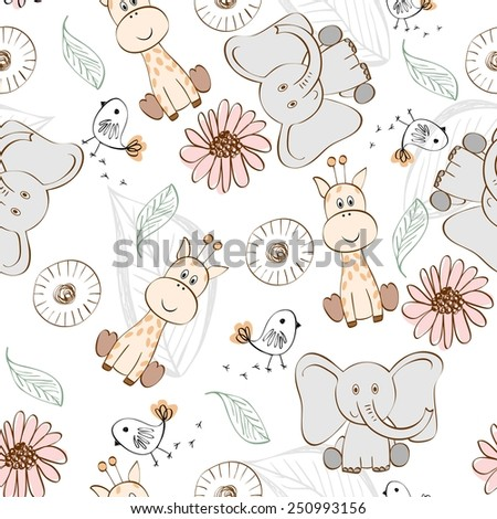 Vector illustration with cartoon animals. Seamless pattern - stock vector