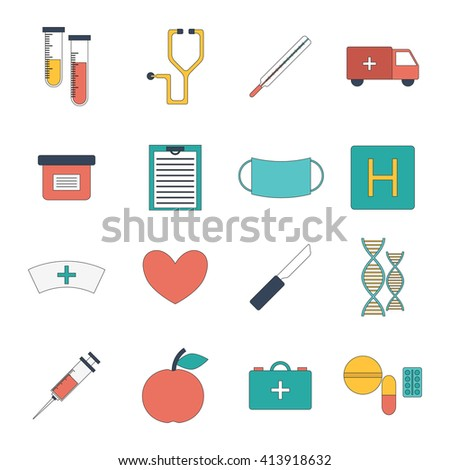 Vector illustration with cartoon flat medical objects: pills, thermometer, ambulance, stethoscope, medicine chest, dna, heart, scalpel knife. Vector first aid concept. Medical doctor icons flat design