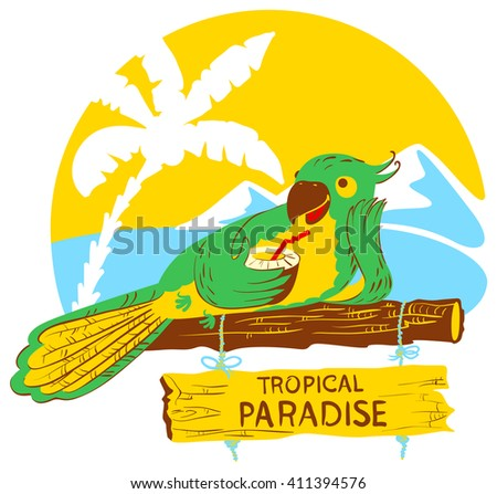 Vector illustration with cartoon green parrot with cocktail on wooden designator to the tropical beach  - stock vector