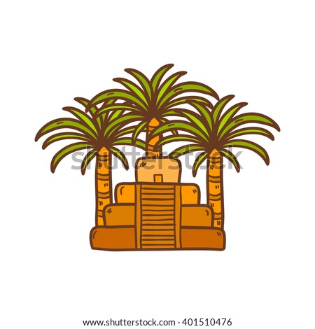 Vector illustration with cartoon hand drawn aztec pyramid and palms. Old aztec, mayan civilization concept. Mexico, latin america travel. Aztec culture and heritage. Mexico tourism cartoon background - stock vector