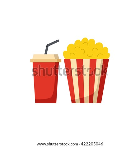Vector illustration with cartoon movie popcorn and soda. Cartoon popcorn striped bucket with plastic cup of soda. Vector cinema time background. Isolated movie snack objects. Cinema drink and food - stock vector