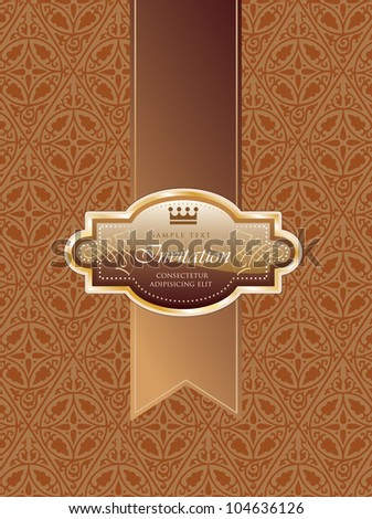 vector illustration with chocolate brown invitation label on golden tape
