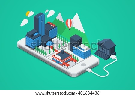 vector illustration with city on phone - stock vector