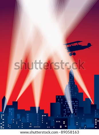 vector illustration with city skylines and spotlights - stock vector