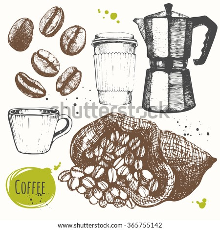 Vector illustration with coffee drinks. Decorative elements for your design. Set of hand drawn cup, geyser, beans. Black and white sketch.
