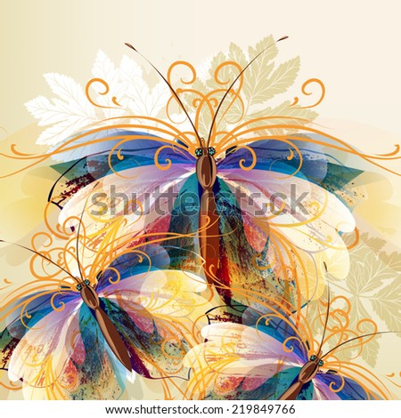 Vector illustration with colorful abstract butterflies - stock vector