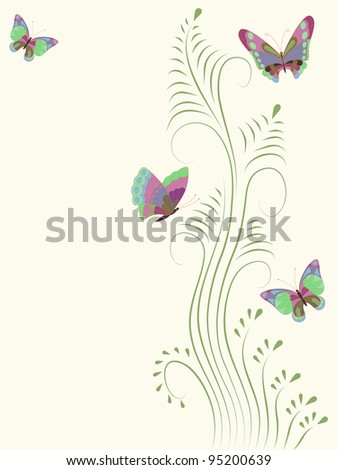 Vector illustration with colorful butterflies for greeting card.
