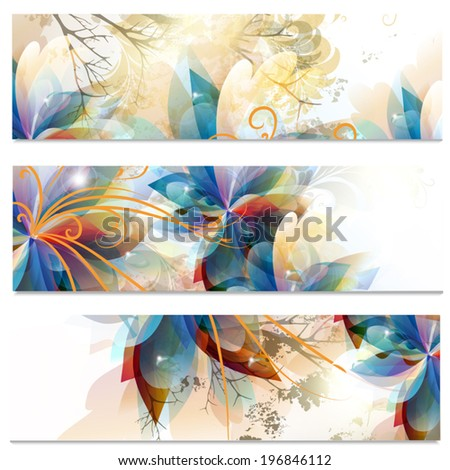 Vector illustration with colorful floral patterns - stock vector