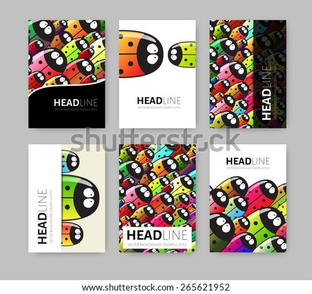 Vector Illustration with Colorful Geometric Beatles Background. Business Template for Flyer, Banner, Poster, Brochure Design. Zoo style. Eps10 - stock vector