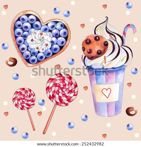 Vector illustration with colorful sweets: cake with blueberries and cream, hot chocolate with a chocolate cookies, red-white lollipops. Watercolors Painting. The elements for your design, - stock vector