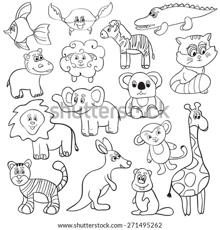 Vector illustration with cute animals - cartoon set - coloring book - stock vector