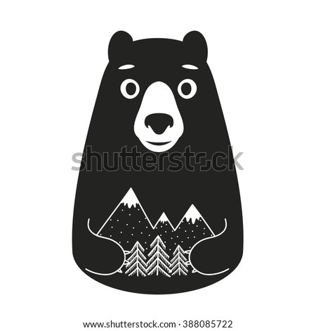 Vector illustration with cute cartoon style bear. Pine trees and mountains. Black and white print design, home decoration poster,  - stock vector