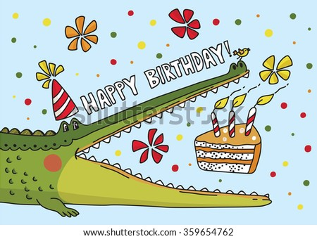 Vector illustration with cute crocodile. Birthday card - stock vector