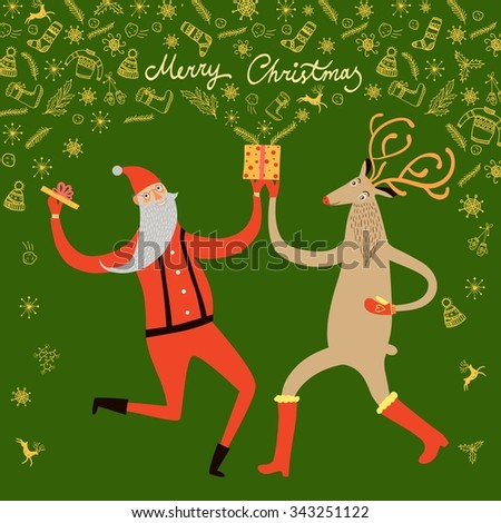 Vector illustration with cute dancing Santa Claus and reindeer with opened gift box and doodle Christmas symbols. Christmas illustration for your design. - stock vector