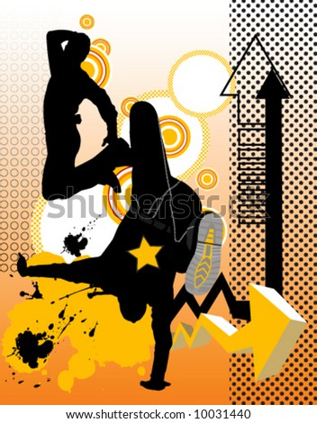 Vector illustration with dancing young men. Music concept. - stock vector