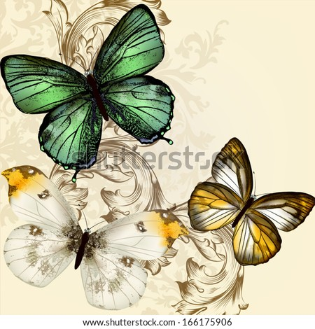 Vector illustration with  detailed butterflies in vintage style - stock vector