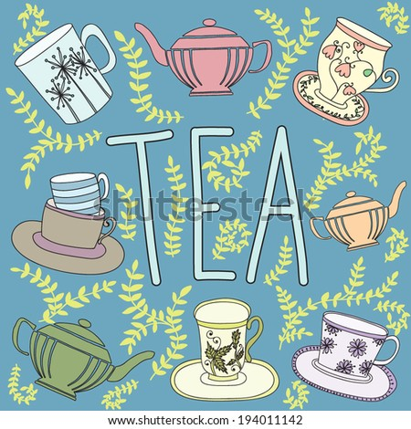 Vector illustration with different cups and teapots - stock vector