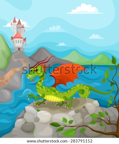 vector illustration with dragon - stock vector