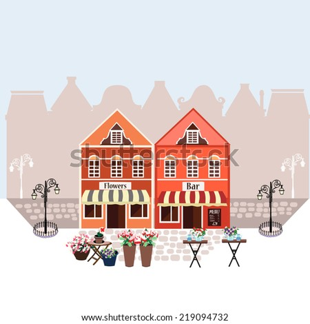 Vector illustration with European houses, town square, cafe and flower shop - stock vector