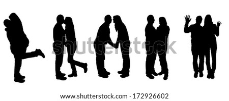 Vector illustration with family silhouettes on a white background.