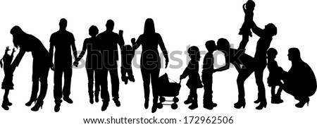 vector illustration with family silhouettes on a white background .