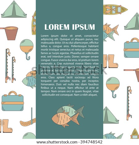 Vector illustration with fishing infographics. Line fishing equipment. Vector background for fishing infographics with textspace. Fishing card or poster. Outdoor hobby fishing infographics - stock vector