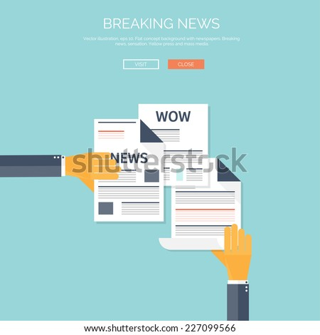 Vector illustration with flat newspapers. News and mass media concept background. Global communication.