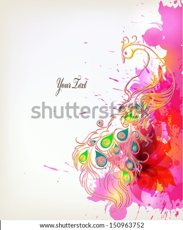 Vector illustration with floral design elements ,blots and peacock