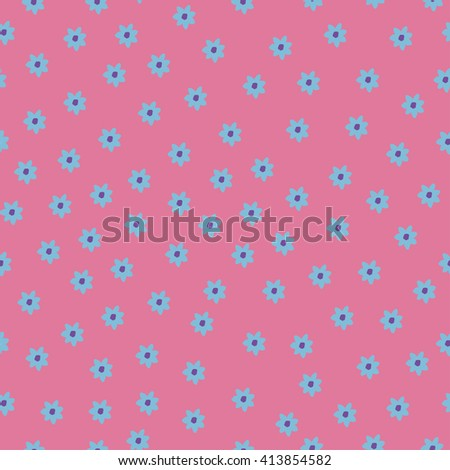 Vector illustration with flowers. Seamless pattern with flowers on pink background.