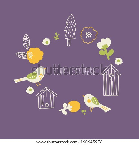 Vector illustration with forest elements i.e. flowers, trees, birds and nests - stock vector