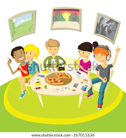 Vector illustration with friends teenagers have fun in pizzeria - stock vector