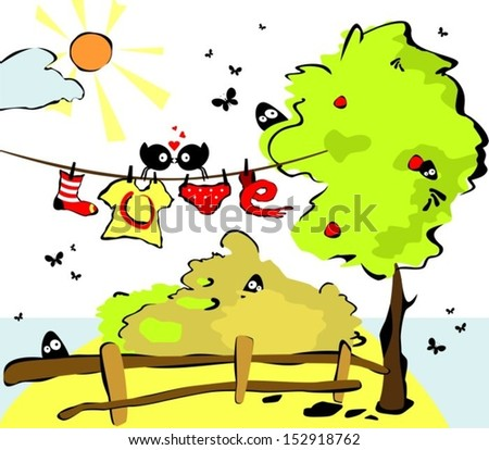 Vector illustration with funny birds - stock vector