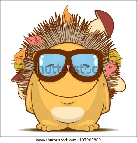 Vector illustration with funny cartoon hedgehog character. - stock vector