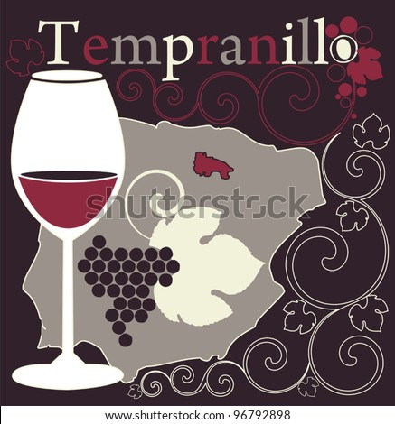 Vector illustration with glass for Spanish red wine  on the background with Spain map, grapes and flowers ornament